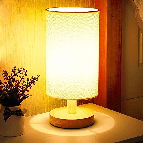 Lámpara de mesa de noche (luz blanca cálida), mesita de noche con la lámpara (Caqui) cortina de la tela y madera maciza for el dormitorio, sala de estar moderna, oficina, niños.