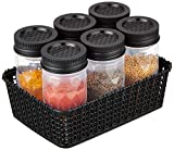 Made from 100% BPA-free, food-grade plastic to ensure safe usage 6 piece container set with jars of 225 ml each Multi-purpose basket holder to organize the container set. Ideal for storing staples, spices, cereals, snacks and biscuits Airtight lid ke...