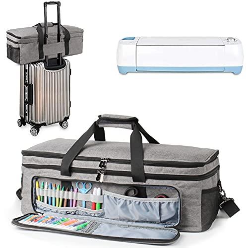 Bolsa de transporte para máquinas troqueladas, UNIMORE Estuche de almacenamiento de viaje multi-compartimiento compatible con Cricut Explore Air (Air2) Cricut Maker y accesorios de manualidades, gris