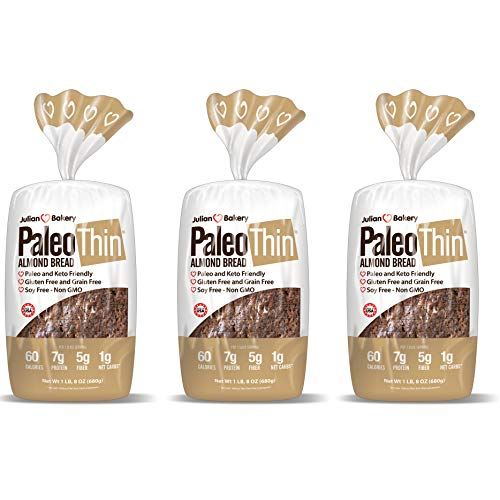 Julian Bakery Paleo Thin Bread | Almond | Gluten-Free | Grain-Free | Low Carb | 1 Net Carb | 3 Pack