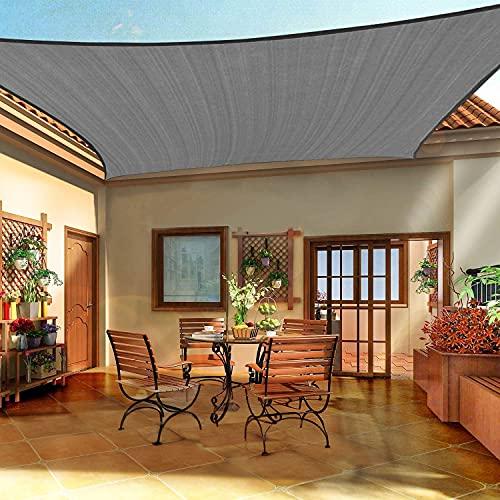 Emooqi Sonnensegel Rechteckig, Rechteckig Sonnensege 2 x 3m Sonnenschutz Atmungsaktiv HDPE UV Schutz, Permeable Canopy Rechteck Sonnensegel Terrasse für Balkon Garten Patio Camping -Dunkelgrau