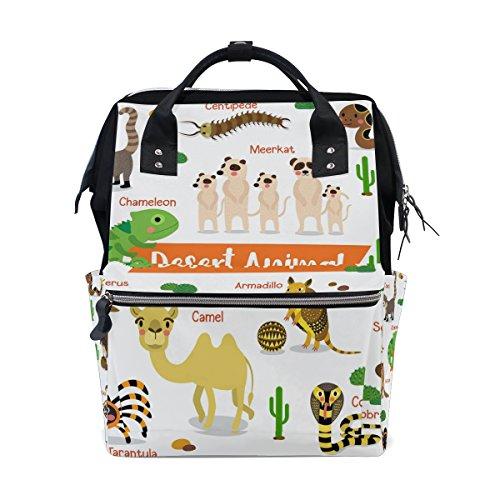 Ahomy Sac à langer Sac à dos à langer, motif dessin animé, animaux du désert, camel, cobra, cactus tropical, sac d'école léger pour homme et femme