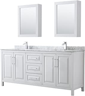 Wyndham Collection Daria 80 inch Double Bathroom Vanity in White, White Carrara Marble Countertop, Undermount Square Sinks, and Medicine Cabinets