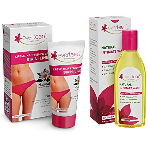 everteen® Combo: Bikini Line Hair Remover Crème (50g) and Natural Intimate Wash (105ml) for Women