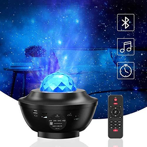 VOKSUN Sternenhimmel Projektor, LED Sternenprojektor Lampe Kinder Nachtlicht, Sternen/Wasserwellen Projektor, mit Bluetooth Lautsprecher Fernbedienung, Perfekt für Baby Kinder Schlafzimmer Dekoration