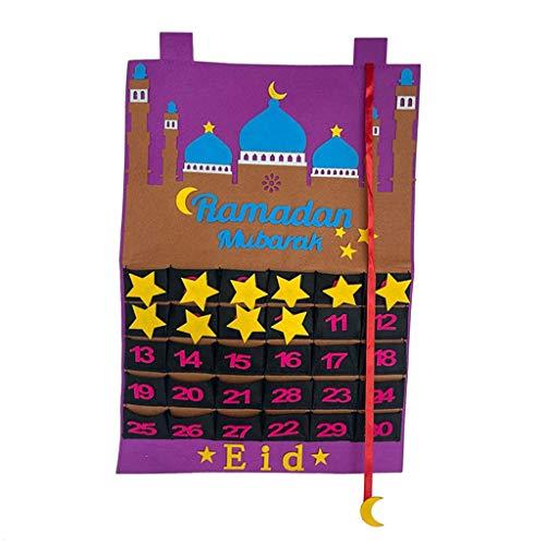 menolana Decorações Ramadan Kareem Eid Mubarak Advento Calendário Adesivo de Parede Pendurado Sentiu Calendário de Contagem Regressiva Estrela de Ouro - Roxo