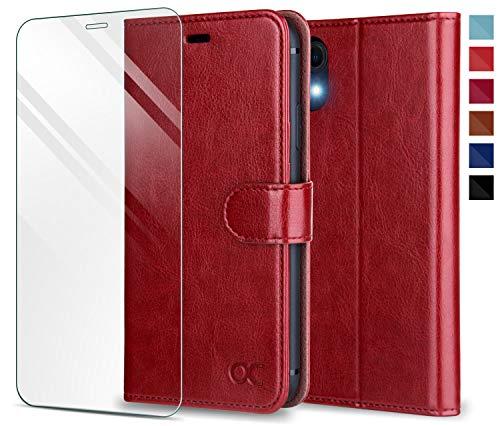 OCASE iPhone XR Hülle Handyhülle Schutzhülle [Panzerglas Schutzfolie] [Premium Leder] [Standfunktion] [Kartenfach] [Magnetverschluss] Leder Brieftasche Kompatibel für iPhone XR Rot