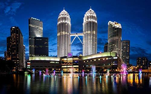 OKOUNOKO Puzzles 150 Piezas, Malasia, Torre Petronas, Decoración para El Juego De Juguetes para El Hogar, 10X15Cm