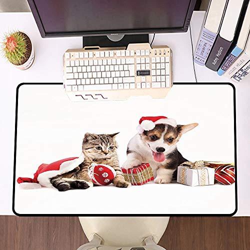 Mouse Pad Gaming - Bordi cuciti - Base in Gomma Antiscivolo,Natale, cane e gatto in cappelli di Babbo Natale con scatole a sorpresa e palle cele,Adatto per Il Gioco,Computer Portatile e scrivania