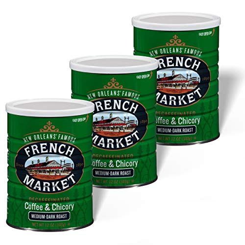 French Market Coffee Medium-Dark Roast Decaffeinated Ground Coffee & Chicory 12 oz. Canister (Pack of 3)