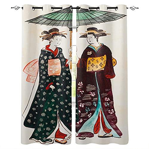 QWFDAQ Cortinas Geisha Japonesa Blanca roja Verde Cortinas Opacas 85cm x200cm x2 Cortina Opaca- Cortinas Salón Opacas, Dormitorio Moderno, Opacas Suaves, con Ojales