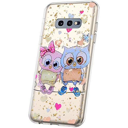 JAWSEU Compatible avec Coque Samsung Galaxy S10e Transparente Silicone Glitter Paillette Brillant Belle Coloré Motif Slim Souple TPU Cristal Clair Housse per Galaxy S10e,Chouette