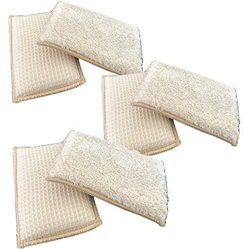 JEBBLAS 6pcs Eponges Grattante Antibactérienne Tampons Microfibre non Odor Brosse Ideal pour Poêlons Antiadhésifs Poêles Pots avec Crochet Ventouse