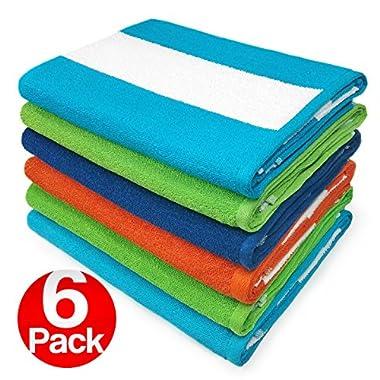 KAUFMAN - Cabana Terry Loop Beach & Pool Towel 6-Pack - 30in x 60in