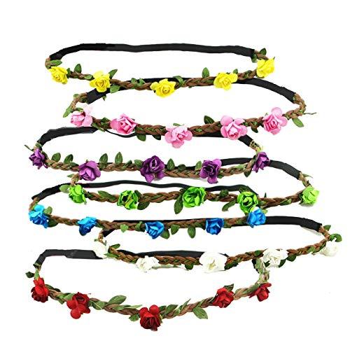JZK 7x Fascia fiori capelli elastica fascetta fiore per donna e bambina, coroncina fiori cerchietto corona fiori ghirlanda fiori per festa carnevale matrimonio