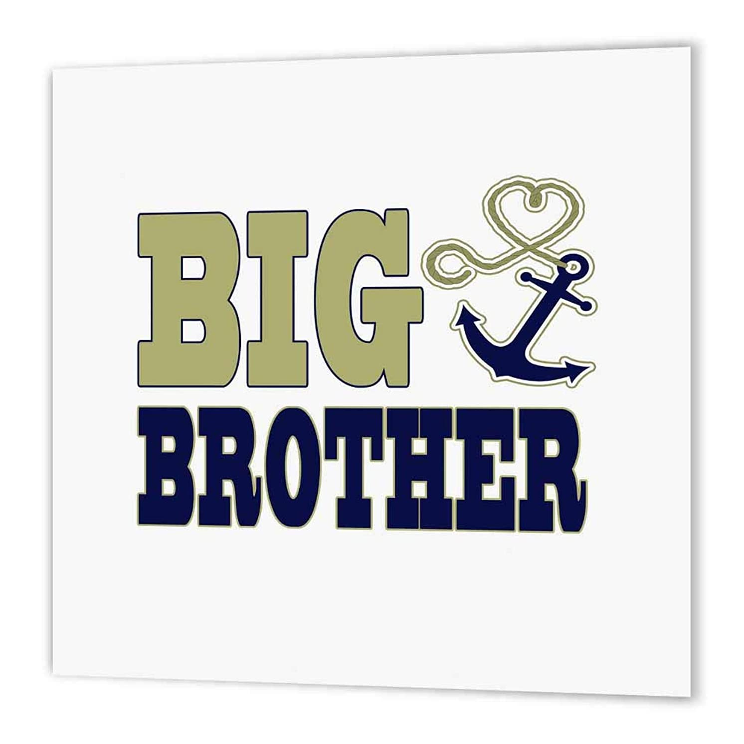 3dRose ht_165881_3 Big Brother Cute Anchor and Heart Rope Navy and Gold-Iron on Heat Transfer Paper for White Material, 10 by 10-Inch