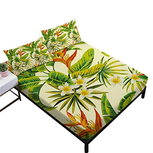 JARSON Tropical Green Leaves Sheets Set Rainforest Plant Floral Sheets Twin Size Hawaii Bedding,Flat Sheet + Fitted Sheet + Pillowcase