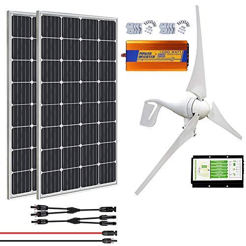 ECO-WORTHY 700 Watt 12V Solar Wind Turbine Generator Kit: 1 Stück 400 Watt Windkraftanlage + 2 Stück 150W Mono Solarpanel + 1 Stück Solar Wind Hybrid Controller + 1 Stück 1000W 12V Wechselrichter
