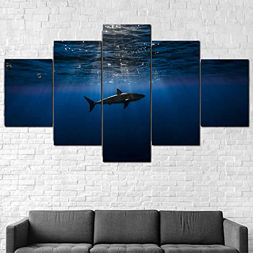 QQWW canvas wall art | Non-Woven Canvas | Shark Underwater Ocean Fish | Photo 5 Pieces | Wall Picture | Multi Panel Modern Large Artwork for Living Room Bedroom