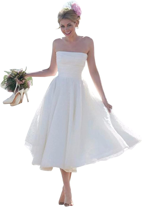 JoyVany Tea Length Strapless ALine Wedding Dress 2016 Summer Beach Wedding Gown