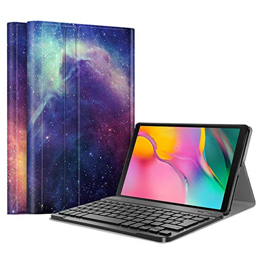 FINTIE Funda con Teclado Español Ñ para Samsung Galaxy Tab A 10.1 2019 (SM-T510/T515) - Carcasa con Soporte y Teclado Bluetooth Inalámbrico Magnético Desmontable, Galaxia