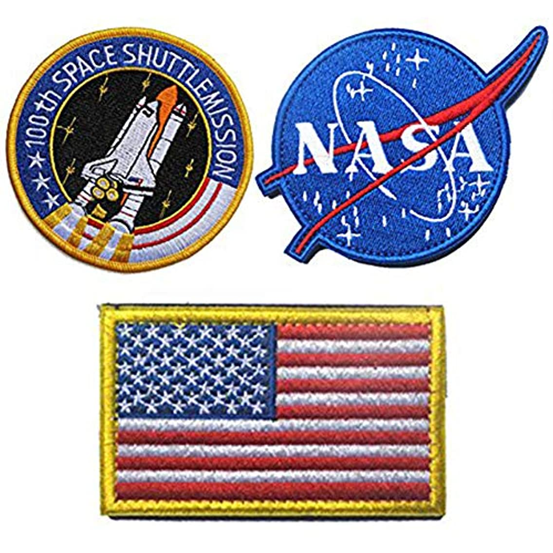 Tactical Flag Patch - Combination USA NASA Patch Embroidered Morale Lot Military Embroidered Patches (3 Pcs)