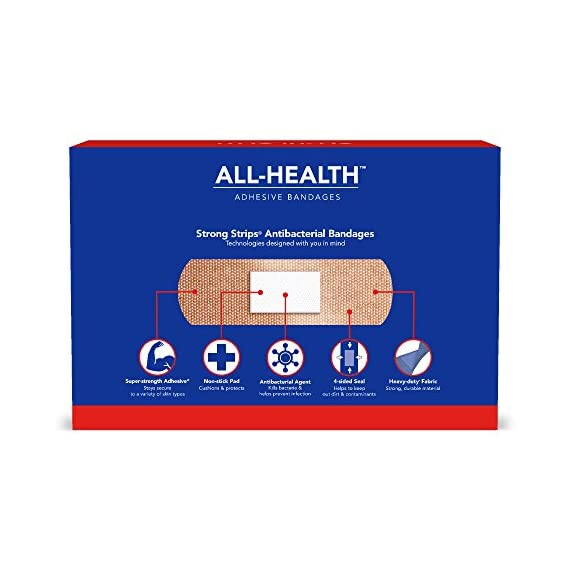 All Health Strong Strips Antibacterial Heavy-Duty Adhesive Bandages, 1 Inch (180 Count) 2 First aid bandages with super-strength adhesive stay in place on most skin types Antibacterial bandage kills bacteria to help prevent infection Non-stick pad cushions and helps protect minor cuts, scrapes, and wounds