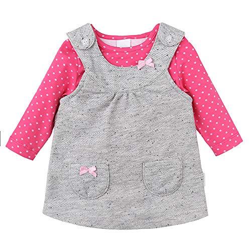 STUMMER Newborn Baby Girls meisjes-set: body/lange mouwen en jurk, grijs