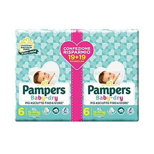 Pampers Baby Dry Pannolini, Taglia ExtraLarge, Confezione da 38 Pannolini