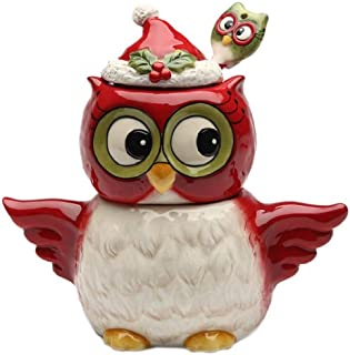 Cosmos Gifts 10909 Owl Design Holiday/Seasonal Sugar and Creamer Set with Spoon, 5-3/8-Inch