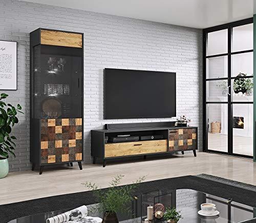 Jadella woonwand ' Sofia I ' Lowboard antraciet TV wand alpine eiken televisiekast eiken hout decor