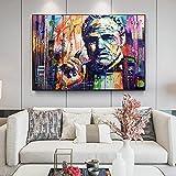 Street Graffiti Art Godfather lienzo pintura figura abstracta impresiones y póster cuadro de arte de pared para la decoración del hogar de la sala de estar 60x80 CM (sin marco)