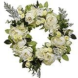 Senmubery - Ghirlanda di peonie, ortensia, 45,5 cm, con fiori di peonia, ghirlanda di fiori artificiali, con foglie verdi, per porte d'ingresso, matrimoni, pareti, decorazioni per la casa