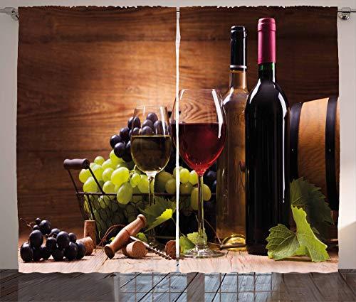 Cortinas de vino, copas de vino tinto y blanco servido con uvas gourmet francés, sala de estar, dormitorio, 2 paneles, 132 x 183 cm, color marrón rubí