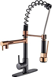 Votamuta Single Handle Kitchen Sink Faucet Rose Gold and Oil Rubbed Bronze Finish Pull Down Sprayer 360 Degree Spout Mixer...