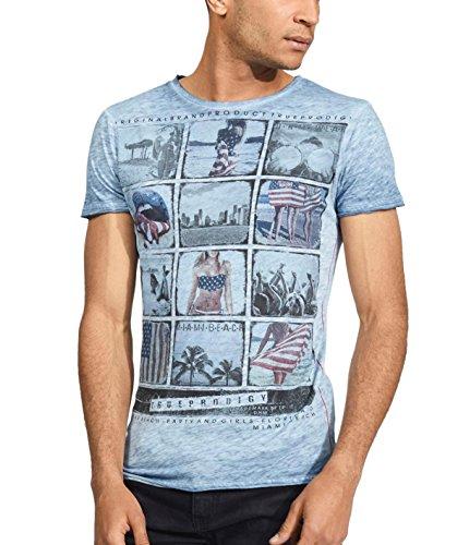 trueprodigy Casuale Uomo Maglietta Motivo Stampa, Abbigliamento Urban Moda Collo V (Manica Corta & Slim Fit Classic), t-Shirt Moda Vestiti Colore: Blu 1062109-4014-M