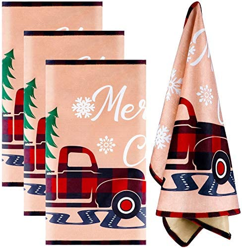 Aneco 4 Pack Christmas Dish Towels Christmas Vintage Truck Dish Towels for Christmas Indoor product image