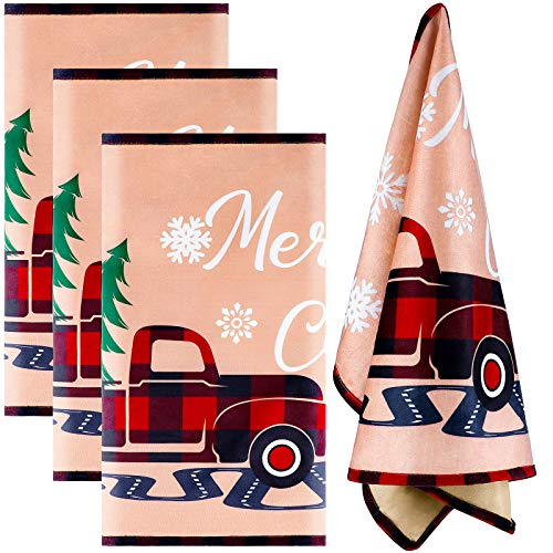 Aneco 4 Pack Christmas Dish Towels Christmas Vintage Truck Dish Towels for Christmas Indoor Outdoor Events 28 x 18 Inches