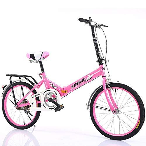 LSBYZYT Bicicleta Plegable, Bicicleta Ultraligera de 20 Pulgadas, Bicicleta portátil para Adultos-Rosado_Excluyendo Cesta para Bicicletas