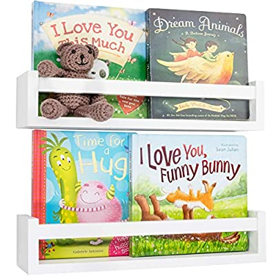 Beautiful Floating Book Shelves and Animal Prints for Kids Room - 2X Easy to Install Nursery Wall Bookshelves and 4X Cute Safari Decor Prints - The Perfect Bookshelf Organizer for Your Nursery