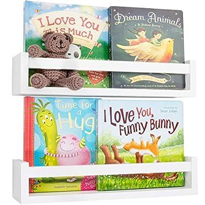 Decorative Nursery Shelves and Animal Prints Set - 2X Easy to Install Wall Shelves and 4X Cute Safari Nursery Decor Prints - Beautiful Floating Bookshelf Organizer That Decorate Your Kids Room