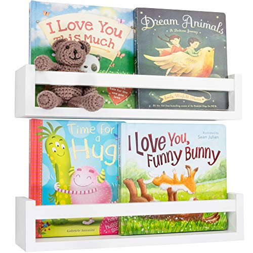 Beautiful Floating Book Shelves and Animal Prints for Kids Room - 2X Easy to Install Nursery Wall...