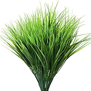 Gonioa14PCSFaux Plastic Wheat Grass, Artificial Outdoor Plants, Fake Plastic Greenery Shrubs for Indoor Outdoor Home,Bathroom, Wedding, Garden, Office Decoration
