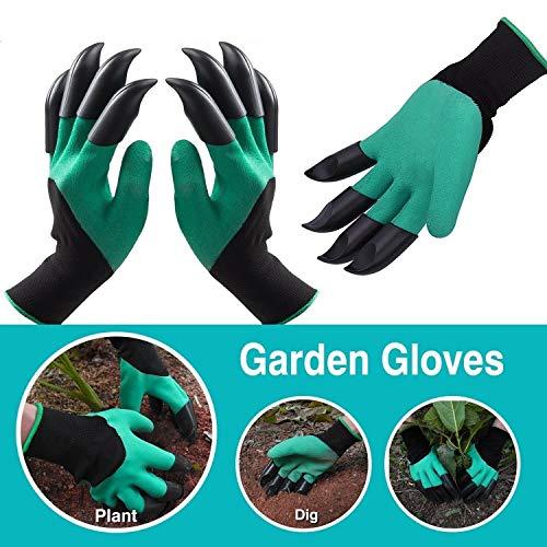 Garden Genie Guantes con garras impermeables para excavación de jardinería (1 par)