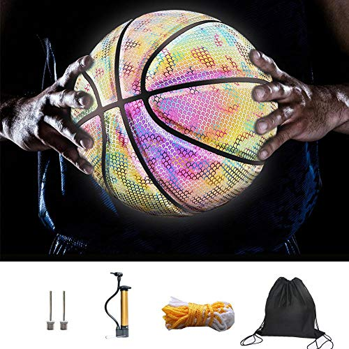 Review Of 7 PU Glowing Reflective Basketball Set with Basketball Bag and Pump, Composite Moisture-Ab...