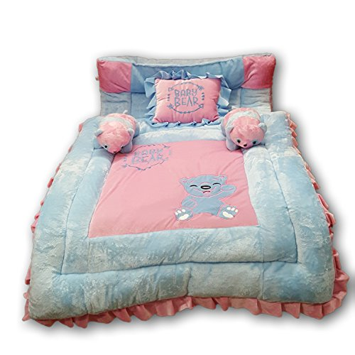 PINKS & BLUES New Born Baby Full Sleeping Bedding Set with 2 Side Pillows in a Shape of Cute Bears. 0-30 months (PINK SKY)
