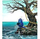 BWHome Gato azul gordo pintura abstracta acordeón pintura DIY pintura digital regalo de los niños modernos arte de la pared Marco de bricolaje40x50CM
