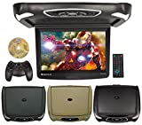 Rockville RVD15BGB Black/Grey/Tan 15' Flip Down Car Monitor w DVD/HDMI/Games/USB