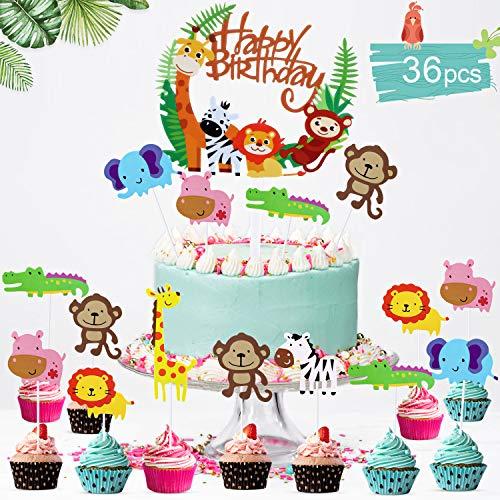 PHOGARY Tiere kuchendeko Geburtstag (36 Stück) Kinder Junge Mädchen, Dschungel Tortendeko für Kindergeburtstag Party - 1 groß Kuchen Topper + 35 STK. Cupcake Toppers