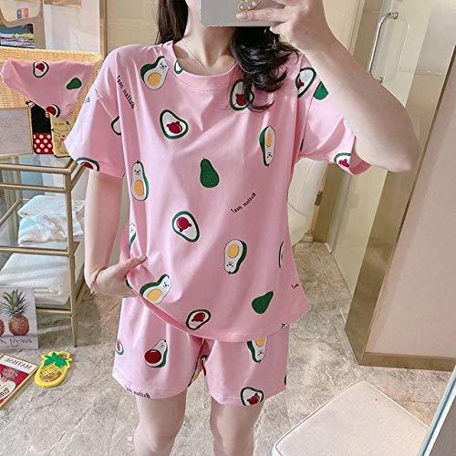 SMYFM Pijama,Lindo Pijama de Verano con Estampado de Frutas Naranjas para Mujeres Ropa de Dormir Informal Suelta Sudaderas y Pantalones Cortos, Conjunto de Aguacate Rosa, XXL (68,75 kg)